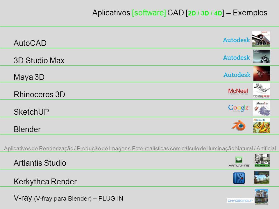 Aplicativos [software] CAD [2D / 3D / 4D] – Exemplos